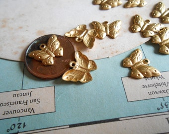 10 pc vintage tiny  butterfly insect animal  charms - old new stock vintage jewelry making charms