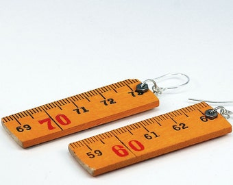 Wood Ruler Earrings- Upcycled Folding Ruler Jewelry, Found Object Jewelry, Hardware Jewelry by Tanith Rohe