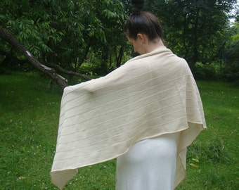 Ecru Shawl Wedding Bridal Wrap Light Beige Merino Scarf Chale Schal Bridal Cape Bridesmaid's Gift