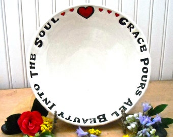 GRACE Pours Beauty Into Soul Serving Bowl - HandMade Wheel Thrown Stamped Heart Quote Dish - 8th 9th Wedding Anniversary HouseWarming Gift