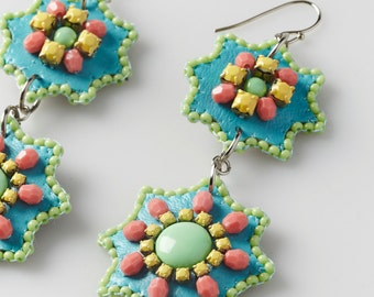 Handmade 2-tiered bead embroidered dangle earrings - Facets collection -