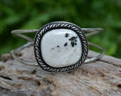 Large Turquoise Cuff Bracelet. Southwestern White Buffalo Turquoise Statement Cuff. Handmade Sterling Silver Jewelry.
