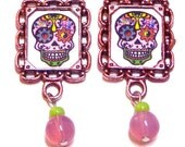 Mexican Day of the Dead Sugar Skull Earrings. So Pretty in Pink! Tibetan metal frames original art and pink opal glass beads  hint of lime