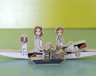 Custom Wedding Cake Topper Couple in Crew/Rowing boat with Separate Boat for Two Pets