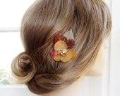 fall wedding hair pin, rustic wedding hairpiece, champagne hair flower, cranberry red, bridesmaid hair clip, flower girl, autumn wedding