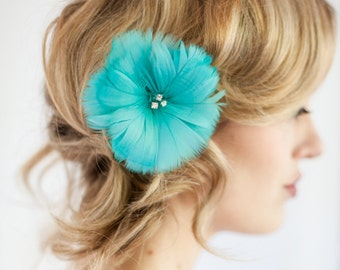 Bridal Feather Hairpiece Floral Feather Floral Jade Aqua Bridal 2015 Trend