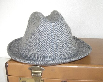 gray tweed hat with hints of blue and brown - fedora made by dorfman pacific - mid century mad men hipster style - wearable road trip hat