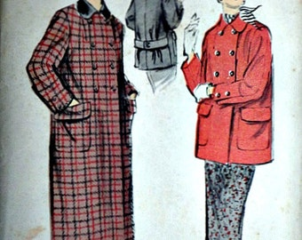 Misses' Double Breasted Coat And Skirt, Advance 7763 Vintage 50's Sewing Pattern, Size 16, 34 Bust