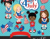 4th of July, Independence Day Girls Clipart – American flag, American bird, 4th of July banner, stars, frame & cute characters.