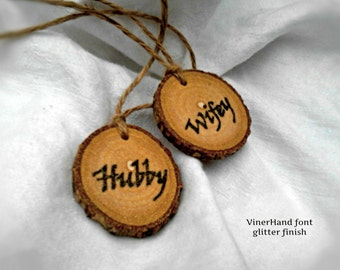 HUBBY AND WIFEY His and Hers Gifts Mr & Mrs Wine Glass Charms Personalized Wine Charms Rustic Wedding Wine Tags Drink Tags Wine Bottle Tags