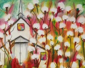 "Sunday, 5 x 7"" Print of mixed media painting"