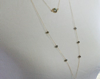 Layered Necklace - Labradorite Necklace - Multi Strand Necklace  - Tassel Necklace- Ready to Ship