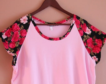Ladies' Raglan Tee - Ready to Ship Size XXL - Pink and Floral