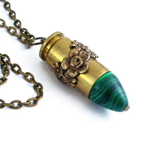 Malachite Bullet with Bronze Roses - Steampunk Bullet Jewelry Ammo Necklace