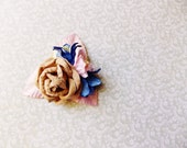 Malt Sapphire Blue Blush Pink Roses Lilies Handmade Millinery Corsage baby kids hair bow headband ooak clip supply Vintage Style Flowers
