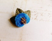 Peacock Blue Gold Moss Millinery Flower Brooch ~Velveteen Chenille Rosette pin, glass beaded stamens velvet wedding accessory Victorian trim