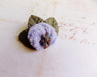 Lavender Rainbow Moss Millinery Flower Brooch ~Velveteen Chenille Rosette pin, glass beaded stamens, velvet wedding accessory Victorian trim