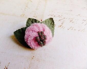 Pastel Pink Rainbow Moss Millinery Flower Brooch~Velveteen Chenille Rosette pin glass beaded stamens velvet wedding accessory Victorian trim