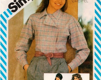 Vintage UNCUT Henry Grethel Simplicity Pattern 6066 - Misses Set of Loose-Fitting Shirts - Size 12