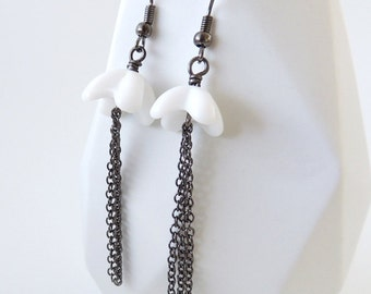 White Glass Bead Earrings -- Black Chain Tassel Drops -- 'Snow Queen'