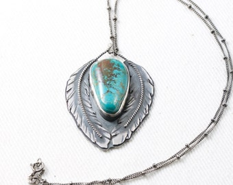 Turquoise Feather Sterling Silver Pendant handmade oak fox turquoise american natural turquoise metalwork metalsmith silversmith oak