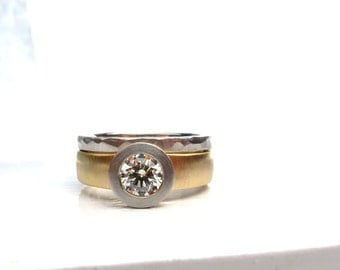 Palladium and 18kt gold dual tone diamond ring, women's alternative engagement ring, women's right hand ring, recycled metals conflict free