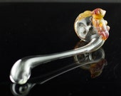 Cuttlefish Glass Churchwarden Pipe Hand Blown Thick Wall in Clear & Amber Purple, Ready to Ship #181