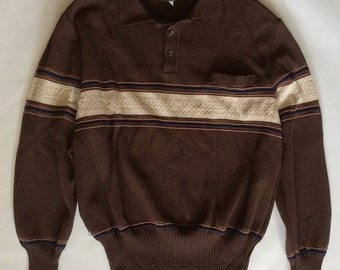 Vintage collar sweater by Haband of New Jersey, dark brown striped in tan, light brown, and navy blue with pointelle knit row, men's medium