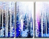 As Seen In Tatler Magazine, Giclee, Winter Photography, 3 Panel Canvas Art, Birch Trees, Pine Trees, Snow, Utah,, Boys Decor, Ready to Hang