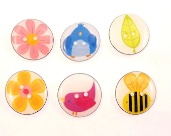 "6 Nature Themed Handmade Flower, Leaf, Bee and Bird Decorative Sewing Buttons.  3/4"" or 20 mm  Buttons for Sewing."