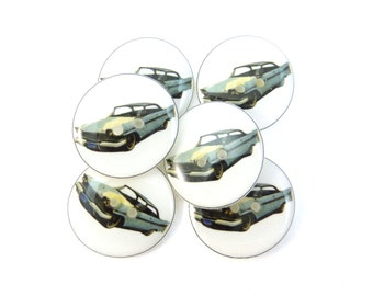 "6 Pale Blue Vintage Car Buttons.  Handmade Buttons.  3/4"" or 20 mm.Vintage Image."