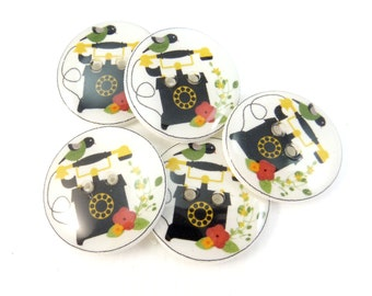"""5  Vintage Telephone Handmade Sewing Buttons.  3/4"""" or 20 mm."""