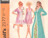 McCalls 2177 1960s Misses Robe Nightie Nightgown Negligee Pattern Womens Vintage Sewing Size 12 Bust 34 OR Size 8 Bust 31 Or 16 OR 10 Or 14