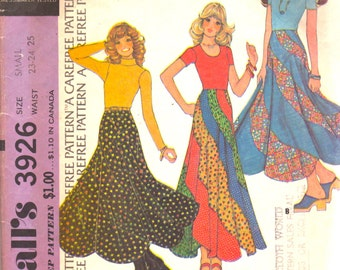 McCalls 3926 1970s Misses Swirl Skirt  Pattern Swirler Pattern Womens Vintage Sewing Pattern Size Size Small Waist 23 24 25