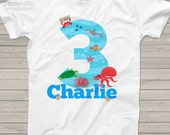 ocean theme Birthday shirt any age ocean life beach theme birthday party shirt - perfectly adorable MBD-025