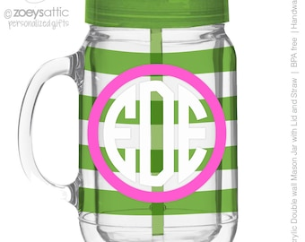 circle monogram mason jar tumbler striped personalized acrylic double wall tumbler - BPA free