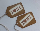 I Love New York gift tags vintage style hand stamped price tags hang tags party favor tags - set of 6