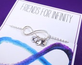 Personalized Infinity Bracelet with initials, Friendship bracelet, Friends for Infinity, friendship card, silver Initial bracelet, otis b