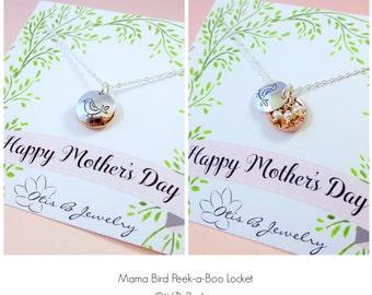 Mother's necklace, Mother's day gift, Locket, silver bird nest with pearls, mama bird necklace, clamshell locket, briguysgirls, otis b