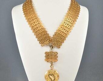 Gold Antique Bookchain Necklace, Victorian Necklace, German Kollmar Victorian Antique Jewelry, Statement Necklace, Long Pendant Necklace