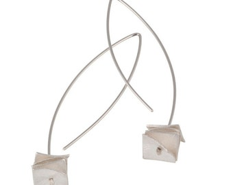 designer sterling silver earrings, modern minimal