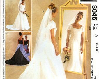 Bridal Dress Pattern - McCall's 3046 - UNCUT - Bridal Dress & Bridesmaid Dress - Out of Print - Sizes: 6 -8 -10