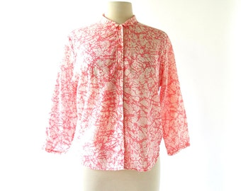 Vintage 60s Blouse | Raspberry Crackle | Abstract Print Blouse | Large L