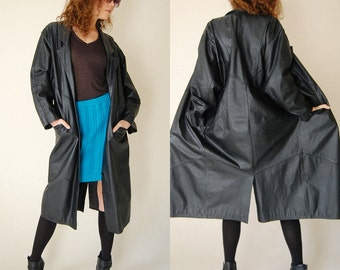 Leather Coat Black Draped Leather Paneled Slouchy Oversized Indie Coat (s m l)