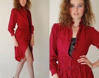 Goth Punk Plaid Dress Vintage Red and Black Gingham Plaid Punk Prairie Ruffle Dress (xs s)