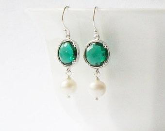 Emerald Green Crystal Pearl Dangle Earrings