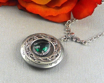 Victorian Emerald Locket Antique Silver Locket Rhinestone Vintage Green Birthstone Locket Necklace