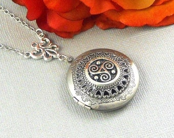 Triskele Celtic Locket, Silver, Celtic, Locket, Necklace, Yoga, Meditation, Spirtual, Celtic Locket