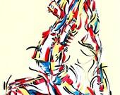 Yoga Art -- Acrylic Painting, Raja Kapotasana