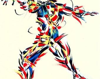 Yoga Art -- Acrylic Painting, Warrior 2 Pose